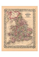 County Map of England and Wales, 1867 Fine-Art Print