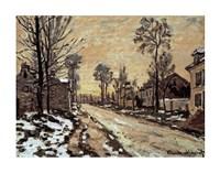 Road at Louveciennes, Melting Snow, Sunset Fine-Art Print