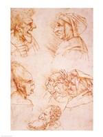 Seven Studies of Grotesque Faces Fine-Art Print