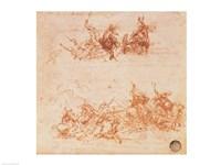 Study of Horsemen in Combat and Foot Soldiers, 1503 Fine-Art Print