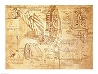 Facsimile of Codex  Atlanticus Screws and Water Wheels Fine-Art Print