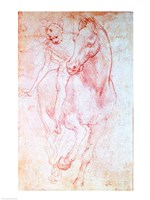 Study of a Horse and Rider, c.1481 Fine-Art Print