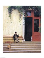 The Artist's Father and Son on the Doorstep of his House Fine-Art Print