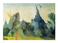 The Garden of Eden, detail from the right panel of The Garden of Earthly Delights, c.1500 Fine-Art Print