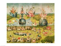 The Garden of Earthly Delights: Allegory of Luxury, horizontal central panel of triptych, c.1500 Fine-Art Print