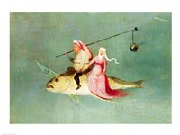 The Temptation of St. Anthony, right hand panel, detail of a couple riding a fish Fine-Art Print