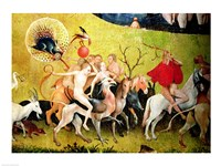 The Garden of Earthly Delights: Allegory of Luxury, detail of figures riding fantastical horses Fine-Art Print