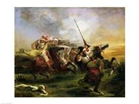 Moroccan horsemen in military action, 1832 Fine-Art Print
