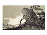 Landscape with Large Rocks, Buildings and Trees Fine-Art Print