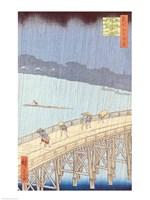 Sudden Shower on Ohashi Bridge Fine-Art Print
