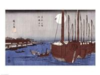 Tsukudajima island and the Fukagawa district under the full moon Fine-Art Print
