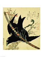 The Little Raven with the Minamoto clan sword Fine-Art Print