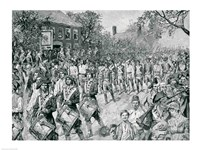 The Continental Army Marching Down the Old Bowery, New York, 25th November 1783 Fine-Art Print