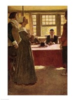 Mary Dyer Brought Before Governor Endicott Fine-Art Print