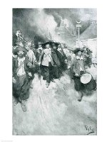 The Burning of Jamestown, 1676, illustration from 'Colonies and Nation' Fine-Art Print