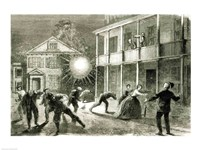 The Federals shelling the City of Charleston: Shell bursting in the streets in 1863 Fine-Art Print