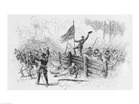 Capture of a part of the burning union breastworks on the Brock Road on the afternoon of May 6th Fine-Art Print