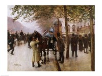 The Boulevards, Evening in Front of the Cafe Napolitain Fine-Art Print