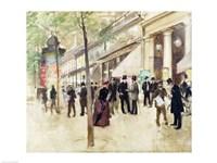 The Boulevard Montmartre and the Theatre des Varietes Fine-Art Print
