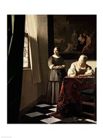 Lady writing a letter with her Maid Fine-Art Print