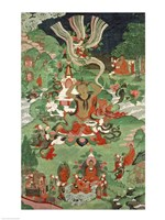 Buddha cutting a tuft of hair, Tibetan temple banner Fine-Art Print