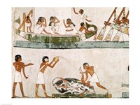 Sacrifice and purification of a bull, and a sailing ritual, from the Tomb of Menna Fine-Art Print