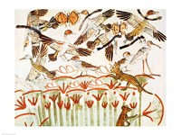 Fishing and fowling in the marshes, detail of the birds, from the Tomb Chapel of Menna Fine-Art Print