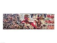 Tutankhamun on his chariot attacking Africans Fine-Art Print