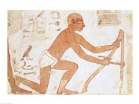 Construction of a wall, detail of a man with a hoe, from the Tomb of Rekhmire Fine-Art Print