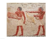 Relief depicting servants carrying a haunch of beef and a duck, from the Tomb of Princess Idut Fine-Art Print
