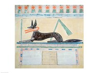 Anubis, Egyptian god of the dead, lying on top of a sarcophagus Fine-Art Print