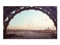 London seen through an arch of Westminster Bridge Fine-Art Print