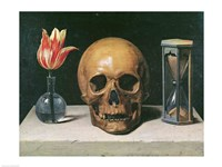 Vanitas Still Life with a Tulip, Skull and Hour-Glass Fine-Art Print