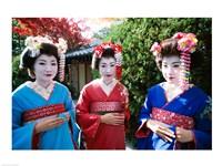 Three geishas, Kyoto, Honshu, Japan Fine-Art Print