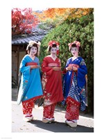 Three geishas, Kyoto, Honshu, Japan (posed) Fine-Art Print