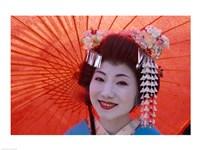 Geisha Orange Umbrella Fine-Art Print