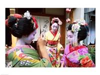 Three geishas, Kyoto, Honshu, Japan (three women) Fine-Art Print