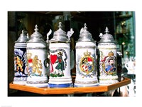 Group of beer steins on a table, Munich, Germany Fine-Art Print
