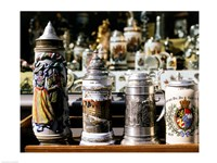 Close-up of beer steins, Bavaria, Germany Fine-Art Print