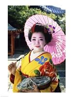 Geisha holding a parasol, Kyoto, Japan Fine-Art Print