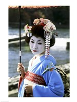 Geisha looking sideways, Kyoto, Japan Fine-Art Print