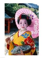 Geisha with Pink Umbrella Fine-Art Print