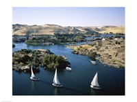 Sailboats In A River, Nile River, Aswan, Egypt Landscape Fine-Art Print