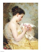 A Beauty with Doves Fine-Art Print