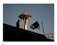 Skateboarder Aloft and Space Needle Fine-Art Print