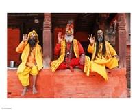 Three Saddhus at Kathmandu Durbar Square Fine-Art Print