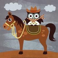 Cowboy Owl on Horse Fine-Art Print
