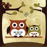 Two Owls on Swing Fine-Art Print