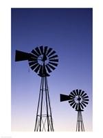 Silhouette of windmills, American Wind Power Center, Lubbock, Texas, USA Fine-Art Print