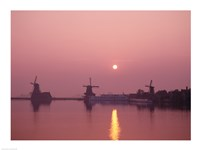 Windmills at Sunrise, Zaanse Schans, Netherlands Fine-Art Print